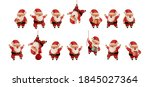set of happy santa claus in red ... | Shutterstock .eps vector #1845027364
