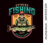 fishing colorful vintage design ... | Shutterstock .eps vector #1845035104