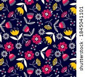 colorful flowers pattern with...   Shutterstock .eps vector #1845041101