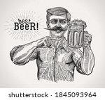 man with a beer mug in one hand ... | Shutterstock .eps vector #1845093964