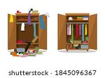 before untidy and after tidy... | Shutterstock .eps vector #1845096367