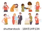 people drink water from...   Shutterstock .eps vector #1845149134