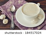 cappuccino with  biscotti  on... | Shutterstock . vector #184517024