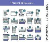 freezer cold color line icons...