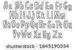 set of hand drawn alphabet font.... | Shutterstock .eps vector #1845190354