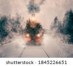 Old Vintage Train In The Snow....
