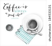 cup of coffee and cupcake  ... | Shutterstock . vector #184533131