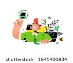 illustrations of a guy with... | Shutterstock .eps vector #1845400834