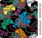 seamless pattern with joysticks ... | Shutterstock .eps vector #1845431161
