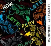 seamless pattern with joysticks ... | Shutterstock .eps vector #1845433654