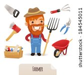 Farmer Icons Set. In the EPS file, each element is grouped separately. Isolated on white background. JPG with paths.