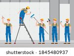 set construction workers with... | Shutterstock .eps vector #1845480937