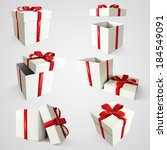 six gift boxes in different... | Shutterstock . vector #184549091