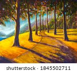 Oil Painting Hiking Trail Road...