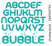 fun vector bubble font with... | Shutterstock .eps vector #184554791