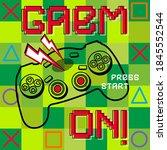cool gamer slogan. joysticks... | Shutterstock .eps vector #1845552544