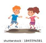 bad kids plying in mud. little... | Shutterstock .eps vector #1845596581