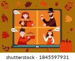 thanksgiving online party.... | Shutterstock .eps vector #1845597931