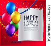 vector birthday card with... | Shutterstock .eps vector #184561979