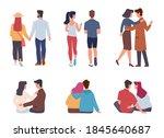 couple back view. men and women ... | Shutterstock .eps vector #1845640687