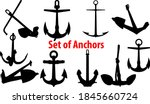 set of black silhouettes of... | Shutterstock .eps vector #1845660724
