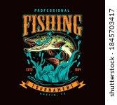 vintage colorful fishing label... | Shutterstock .eps vector #1845703417
