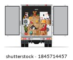 delivery truck full of home... | Shutterstock .eps vector #1845714457
