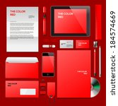 red corporate id mockup.... | Shutterstock .eps vector #184574669