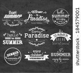 vintage typography summer... | Shutterstock .eps vector #184579001
