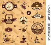 coffee label  emblems collection | Shutterstock .eps vector #184580474