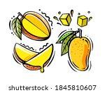 set of mango fruits on white... | Shutterstock .eps vector #1845810607