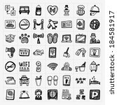 doodle hotel icons set | Shutterstock .eps vector #184581917