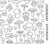 seamless pattern with mushrooms.... | Shutterstock .eps vector #1845838537