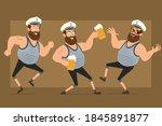 cartoon flat funny bearded fat...   Shutterstock .eps vector #1845891877