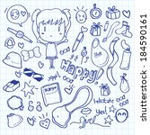 kawaii doodle   Shutterstock . vector #184590161