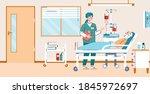 nursing home or hospital ward... | Shutterstock .eps vector #1845972697