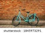 Blue Vintage Bicycle Standing...