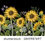 border with sunflowers bouquet  ... | Shutterstock .eps vector #1845987697