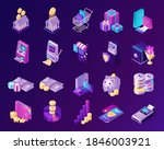 isometric finance icons with...