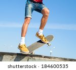 close up of a skateboarders... | Shutterstock . vector #184600535