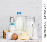 dairy products assortment on... | Shutterstock . vector #184601927