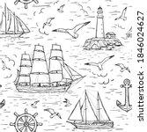 Vector Sketch Seamless Marine...