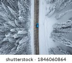Aerial View Of A Snowy Mountai...