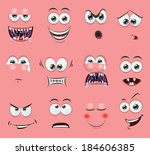 cartoon faces with emotions | Shutterstock .eps vector #184606385
