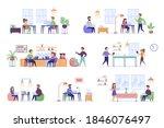 coworking space bundle of flat... | Shutterstock .eps vector #1846076497