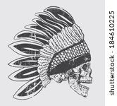 native american indian chief... | Shutterstock .eps vector #184610225