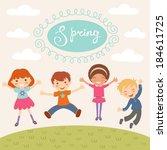 illustration of kids jumping in ... | Shutterstock .eps vector #184611725