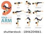 infographic 9 yoga poses for... | Shutterstock .eps vector #1846204861