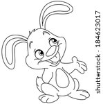 Stock vector outlined bunny presenting vector illustration coloring page 184623017