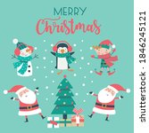 christmas card with santa  tree ... | Shutterstock .eps vector #1846245121